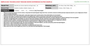 Medical Laboratory Technologist Resume Sample by Eeg Technologist Resumes Samples