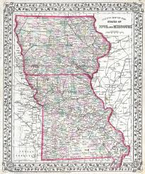 map of iowa county map of the states of iowa and missouri geographicus