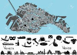 Venice Vaporetto Map Map Ov Venice With Illustrations Of Main Landmark And Symbols