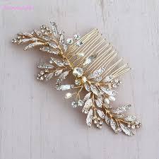 hair broach jonnafe handmade gold leaf hair comb boho hairpiece pearls wedding