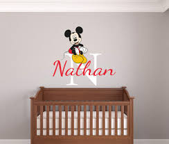 nursery wall stickers with custom names by eydecals personalised name mickey mouse wall decal