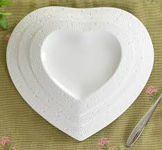 wedding serving dishes heart shaped embossed ceramics dinner plate set decorative