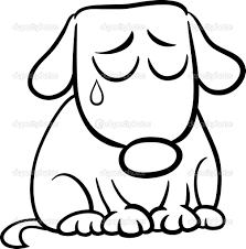 sad dog cartoon coloring page u2014 stock vector izakowski 46606449