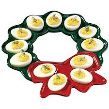 deviled egg serving platter painted glazed ceramic wreath deviled egg serving
