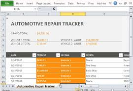 Microsoft Excel Expense Tracker Template Car Repair Tracker Template For Excel 2013