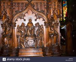 carved wooden pulpit in all saints parish church in ilkley west