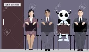 bureau des ressources humaines de dessin animé assis en ligne avec les candidats pour un