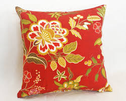 Orange Patio Cushions by Red Floral Pillow Jacobean Pillow Covers Red Orange Gold Pillows