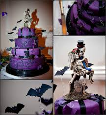 Black And Purple Halloween Wedding Decorations by Creepy Cool Purple And Black Tiered Wedding Cake With Bats And