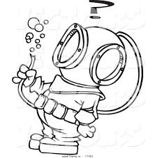 vector cartoon diver hose bubbles