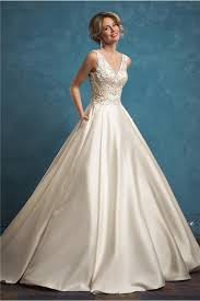 beaded wedding dresses gown v neck ivory satin pearl beaded wedding dress with pockets