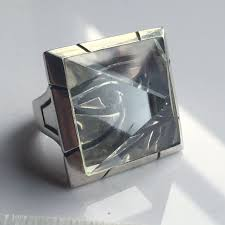 one of a eye of horus quartz pyramid ring in sterling silver