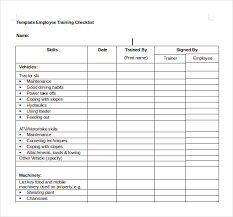 training checklist template 14 free word excel pdf documents