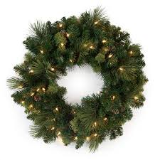 national tree pre lit 24 carolina pine wreath with 10 flocked