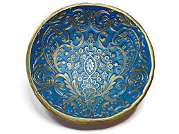amazon com teal moroccan ring dish damask handmade jewelry holder