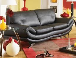 contemporary living room u334 black black bonded leather contemporary living room sofa w chrome legs