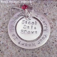 Stamped Name Necklace Memorial Necklaces And Remembrance Keepakes Metal Stamped Memories