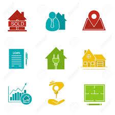 floor plan financing agreement real estate market glyph color icon set sold house broker