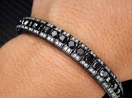 black bracelet white gold images Plain decoration black diamond tennis bracelet white gold with and jpg