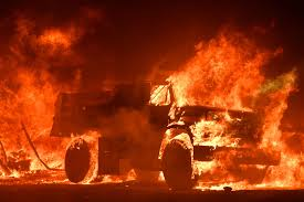 California Wildfires Burn Cars by Apocalyptic Images From The Deadly Fires In Northern California
