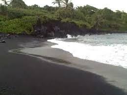 black sand beach on the road to hana maui hawaii june 2011