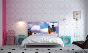 bedroom furniture white circle wall paper art painting headboard