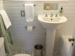 love the niche above sink beveled subway tile and there are many cool vintage bathroom tile design ideas nowadays