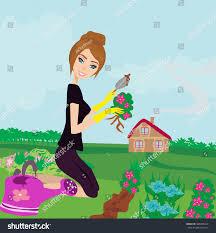 beautiful woman plant flowers garden stock vector 386998414