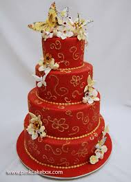 one stop wedding red and gold wedding cakes