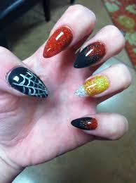 halloween candy corn stiletto spider web black and red acrylic