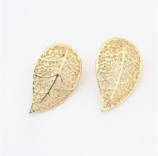 simple earrings design fashion girl fancy leaf shape stud simple gold earring designs for