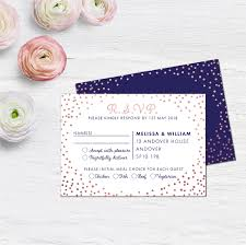 Invitation Acceptance Cards Navy And Rose Gold Rsvp Cards Wedding Response Cards Wedding