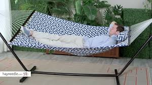 Hammock And Stand Set Island Bay 11 Ft Greek Key Quilted Hammock With Metal Stand