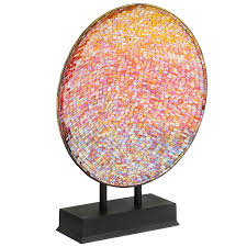 multi colored sunset mosaic platter with stand wrought iron