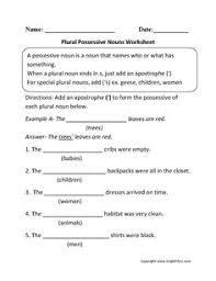 singular possessive nouns worksheets sunboard pinterest