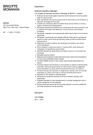 operations manager resume business operations manager resume sle velvet