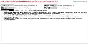 Heavy Equipment Operator Sample Resume by Heavy Equipment Operator Job Title Docs