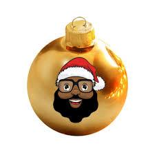 limited edition black santa gold glass ornament the black
