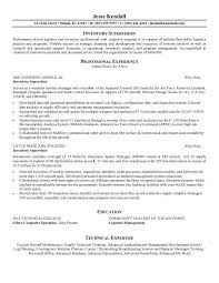 warehouse inventory management resume sales inventory