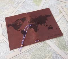 Personalized World Map by Leather Journal Cover Or Leather Passport Cover Custom Leather