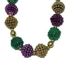 fancy mardi gras large purple green and gold berry necklace 48in 20mm