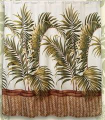 designer fabric shower curtains tropical courtyard garden and