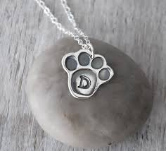 personalized paw print necklace personalized paw print necklace sterling silver pet necklace