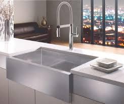 Kitchen Furnitur Decorating Rectangle White Apron Sink Plus Faucet On Wooden