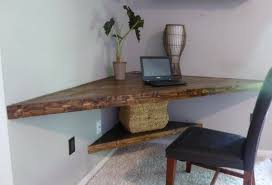 Corner Wood Desk Floating Corner Desk Modern Corner Desk Floating Shelves Wood