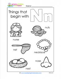 things that begin with n a wellspring of worksheets