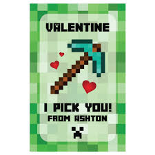 minecraft valentines cards minecraft personalized s day cards 8 pk party supplies