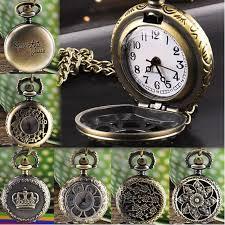 quartz necklace watch images Hot vintage retro bronze quartz pocket watch pendant chain men jpg