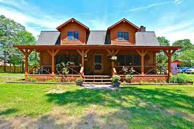 cabin style home cabin style wrap around porch of home for sale in hubert nc