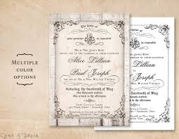 plain wedding invitations printable 5x7 wedding invitation antique calligraphy wood or